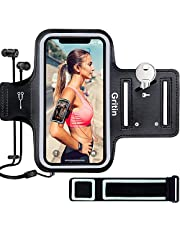 """Gritin Running Armband for iPhone 11/11 Pro/XS/XR/X/8/7/6 Plus, Skin-Friendly Sweatproof Sports Running Armband with Key and Headphone Slot for Phones up to 6.1""""- Perfect for Jogging, Gym, Hiking"""