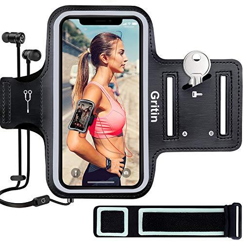 """Gritin Sportarmband Handy für iPhone 11/11 Pro/iPhone XS/XR/iPhone 7/8 bis zu 6,1"""", Schweißfeste Handytasche mit Schlüsselhalter, Kopfhörerloch und Verlängerungsband"""