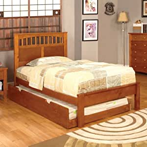 carus mission style oak finish twin size youth bed frame set with trundle kitchen. Black Bedroom Furniture Sets. Home Design Ideas