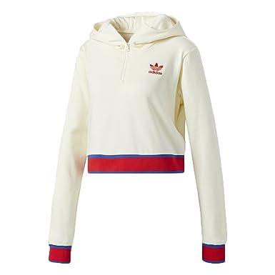 Womens adidas Originals Embellished Arts Crop Half Zip Hoodie Cream White