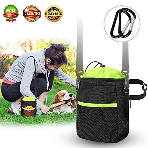 New Dog Treat Training Pouch bags - dog walking bag- Easily Carries Pet Toys, Kibble, Treats- Upgraded Adjustable - Removable Extra Long Waist Belt - Shoulder Strap - Improved Poop Bag Dispenser ()
