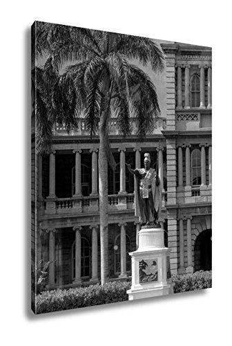 Ashley Canvas USA Hawaii Oahu Honolulu And Waikiki, Wall Art Home Decor, Ready to Hang, Black/White, 20x16, AG6409372 by Ashley Canvas