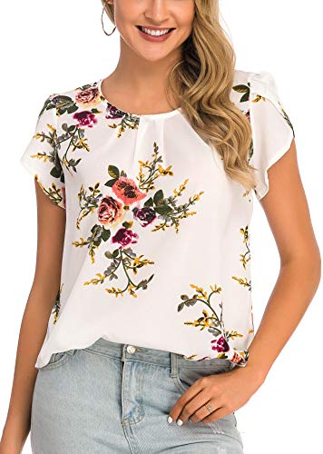 Fronage Women's Summer Cap Sleeve Pleated Tops Work Casual Keyhole Back Floral Shirts Blouse (X-Large, A White) ()