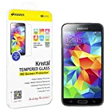 Amzer Kristal Tempered Glass Screen Protector Scratch Guard Shield with Cleaning Cloth for Samsung Galaxy S5 - Retail Packaging