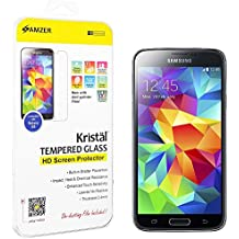 AMZER Kristal Tempered Glass HD Screen Protector Scratch Guard Shield for Samsung Galaxy S5 - Retail Packaging - HD Clear