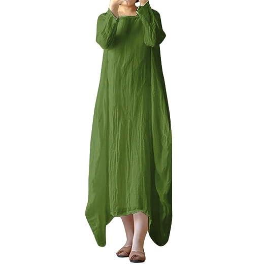 def02fd1a51c9 Women Maxi Dress, Ladies Plus Size Linen Dress Crew Neck Loose Casual Solid  Baggy Boho Long Dress (L, Green)
