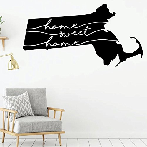 Massachusetts Decal - Home Sweet Home - State Silhouette Vinyl Wall Art for Home Decor, Living Room or Family Room ()