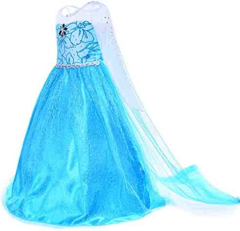 Snow Queen Princess Elsa Costumes Birthday Party Dress Up For Little Girls with Wig,Crown,Mace,Gloves Accessories 3-12 Years