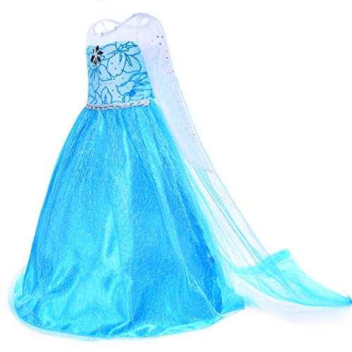 Snow Queen Princess Elsa Costumes Birthday Party Dress Up for Little Girls 8-10 Years(140cm)