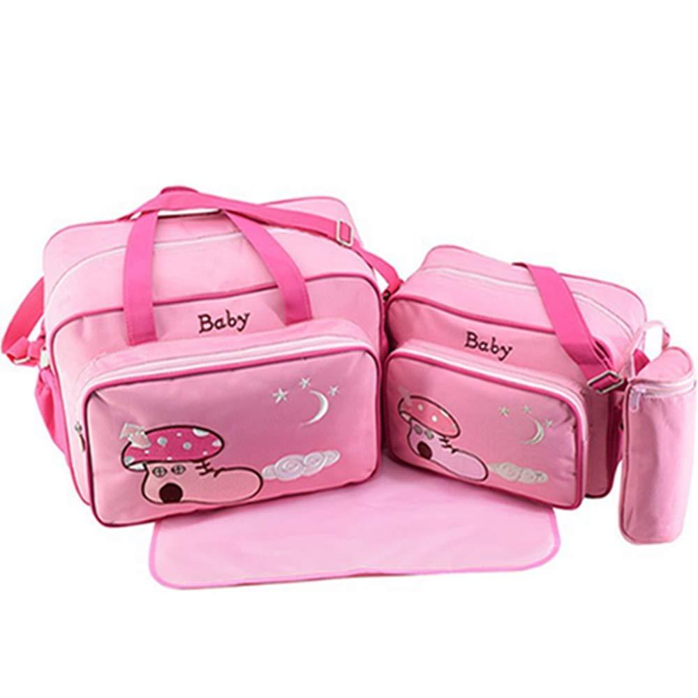 QIQI Bolso De Mamá, Multifuncional De Gran Capacidad Madre Paquete De Viaje Madre Y Paquete De Bebé,Pink