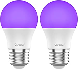 Onforu LED Black Lights Bulb, 7W A19 E26 Bulb, 385-400nm, Glow in The Dark for Blacklight Party, Body Paint, Fluorescent Poster, Neon Glow (2 Pack)