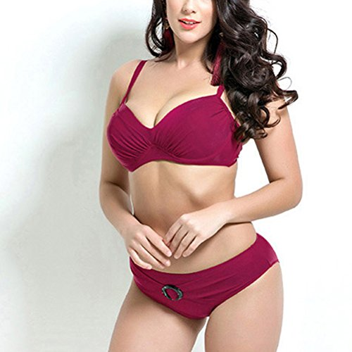 Zhhlaixing Plus Size Split Bikini Swimsuit Fashion Women Beach Solid color Swimwear Dark Red