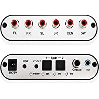 5.1 CH Audio Decoder SPDIF Coaxial to RCA DTS AC3 Digital to 5.1 Amplifier Analog Converte with US Power Adapter and Optical Cable