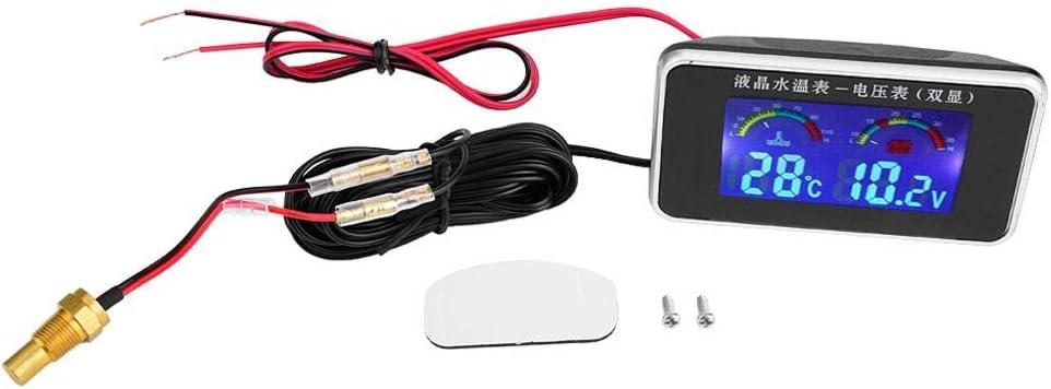 Fydun Medidor de temperatura del agua -10-120 Grado Voltímetro Coche Pantalla LCD con 10mm Sensor de temperatura del agua 12V / 24V / 36V