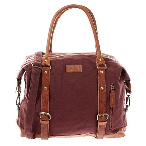 XL Shopper für Damen & Herren Unisex Handgepäck Vintage-Style kleiner Weekender Sporttasche Used-Look Fitnesstasche aus Leder 50x38x12cm braun LE2006 Leconi KXiyJaFkax