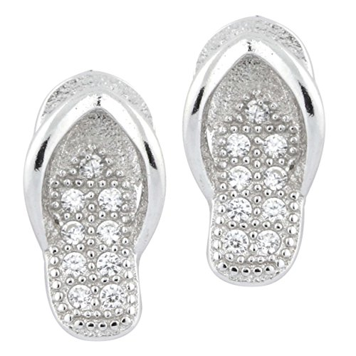 - Sterling Silver 925 Flip Flop Stud Post Earrings Hawaiian Slipper Cubic Zirconia Pave Childrens Italy UNICORNJ