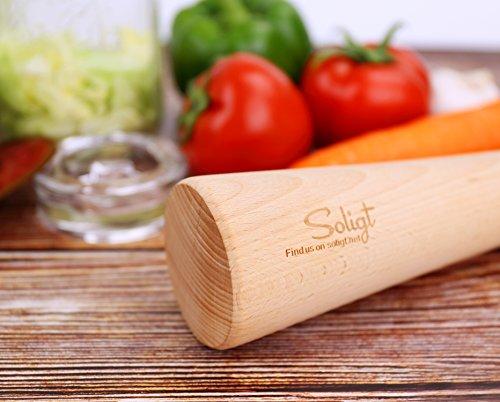 "Soligt 12"" Sauerkraut Pounder for Mason Jars Vegetable Fermentation- One Piece of Solid Wood"