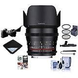 Rokinon 50mm T1.5 Cine DS Lens Canon EF Mount - Bundle 77mm Filter Kit, Lens Wrap, Flex Lens Shade, Cleaning Kit, Lens Pen Cleaner, Capleash II, Pc Software Package