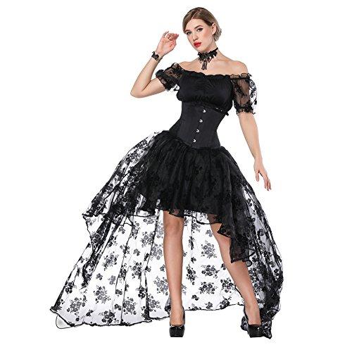 FeelinGirl Damen Korsagekleid Steampunk Gothic Kostüm Magic Mistress Hexenkostüm Teufelchen Halloween Cosplay Priatbraut Schwarz(korsage+rock+bh)