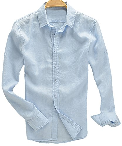 Youhan Men's Long Sleeve Fitted Linen Shirt (X-Large, ()