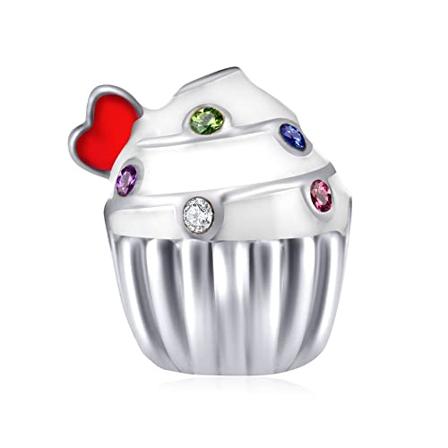 ENJOOOY Sterling Silver Birthday Charm Cake Charm Birthstone Charm Birthday Gifts Women Bracelets