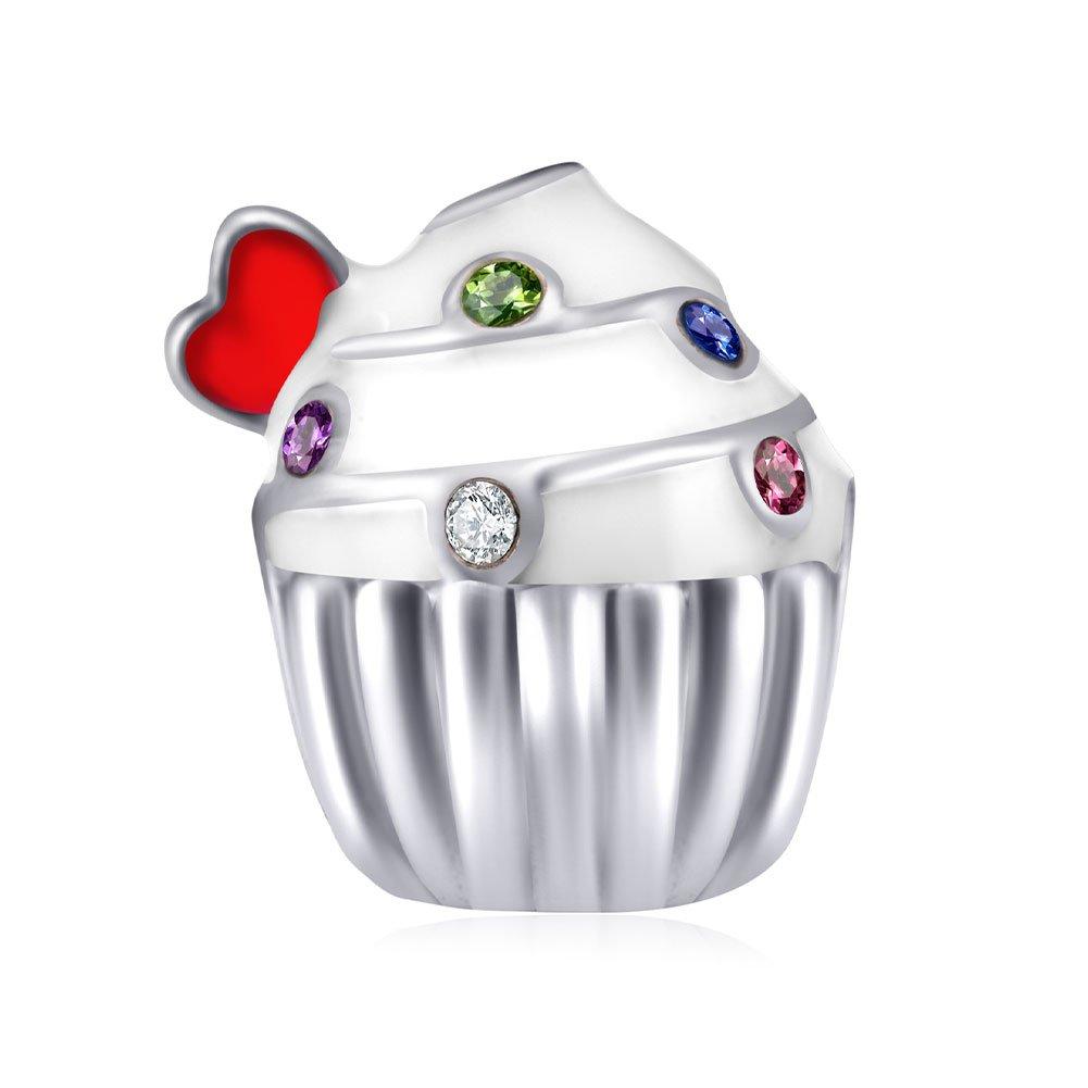 ENJOOOY Sterling Silver Birthday Charm Cake Charm Birthstone Charm Birthday Gifts for Women for Pandora Bracelets