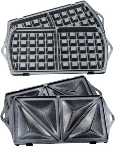 T-fal SW6100 EZ Clean Easy to Clean Nonstick Sandwich and Waffle Maker with Removable Dishwasher Safe Plates, 2-Slice, Silver by T-fal (Image #3)