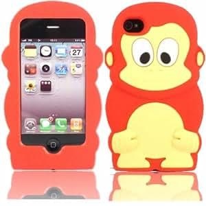 Chimpanzee Silicona Caso Cubrir Concha Para Apple iPhone 4 4S / Red