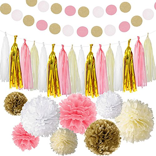 ZEKUI Birthday Tassels Party Decoration Kit Gold and Cream Color Tissue Paper Pom Poms Flower Paper Garland Polka Dot Garland for Wedding,Party,Baby Shower, Room Decor