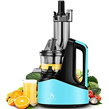 "Natalie Styx Juicer Slow Masticating Juicer Extractor, 3"" Wide Chute Anti-Oxidation Cold Press Juicer , 240W AC Motor, with Juice Jug and Brush, High Nutrient Fruit and Vegetable Juice, Blue"