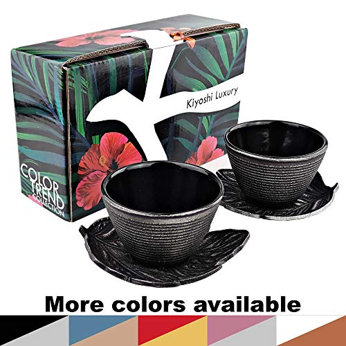 KIYOSHI Luxury Japanese Cast Iron Tea Cups Set 4 pieces - 2 Large Teacups (0.120L - 4,06Oz) + 2