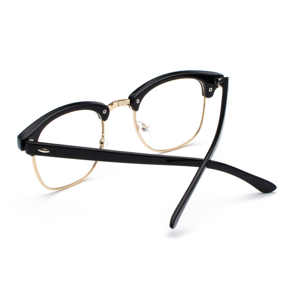 f3d48843207 Amazon.com  Semi Rimless Clear Lens Glasses Frame Classic Men Women Brand  Designer Reading eyeglasses Vintage Square Half Frame Eyewear (Transparent  ...