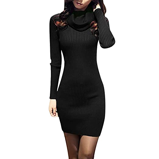 e3594f6275 Toponly Women Cowl Neck Sweater Dress Knit Stretchable Elasticity Long  Sleeve Slim Fit Dresses Black
