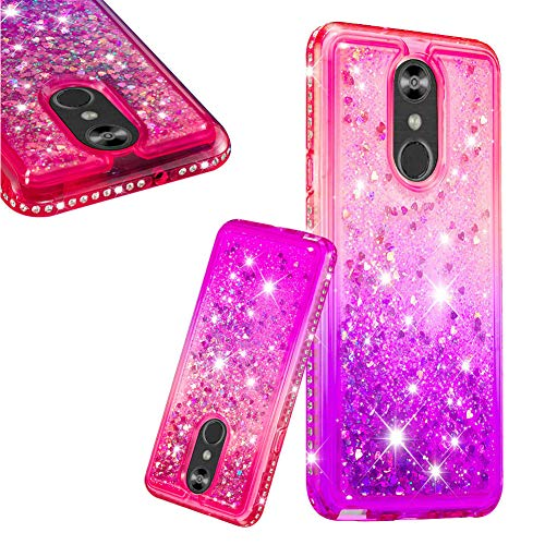 (Liquid Glitter LG Stylo 4/LG Q Stylus Case Glitter Liquid Pink Purple Gradient Crystal Silicone Case for Teen Girls Boy Sparkle Bling Diamod Floating Quicksand Colorful Heart with Screen Ptotector)