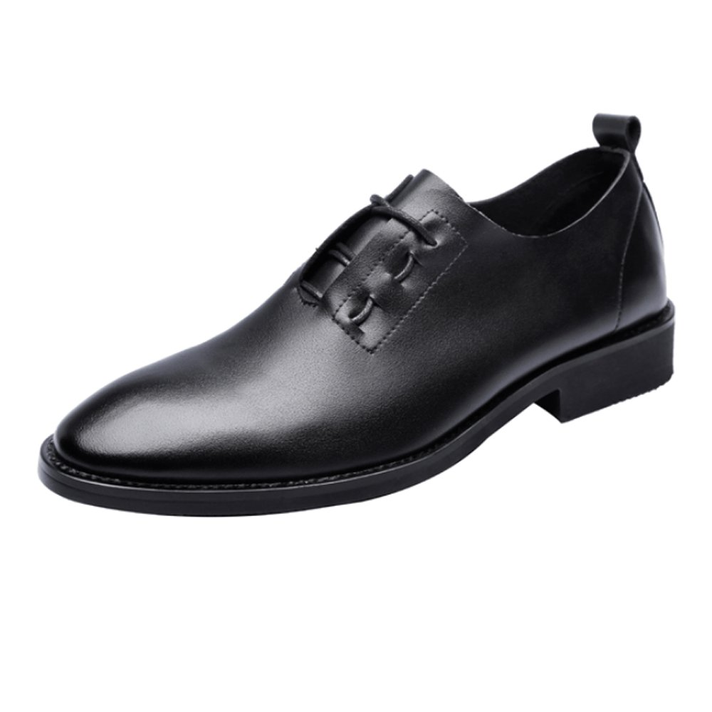 Black JIALUN-shoes Fashion Men's Low Top shoes Casual Matte PU Leather Loafers Criss Cross Lace Up Breathable Pointed Toe Oxfords Black