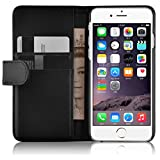 """iPhone 6s Case - Leather Wallet Flip Cover for iPhone 6 / 6s 4.7"""" , Black"""