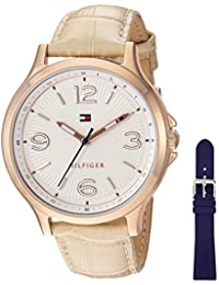 Women's Quartz Gold and Leather Watch, Color Champagne (Model: 1781710)