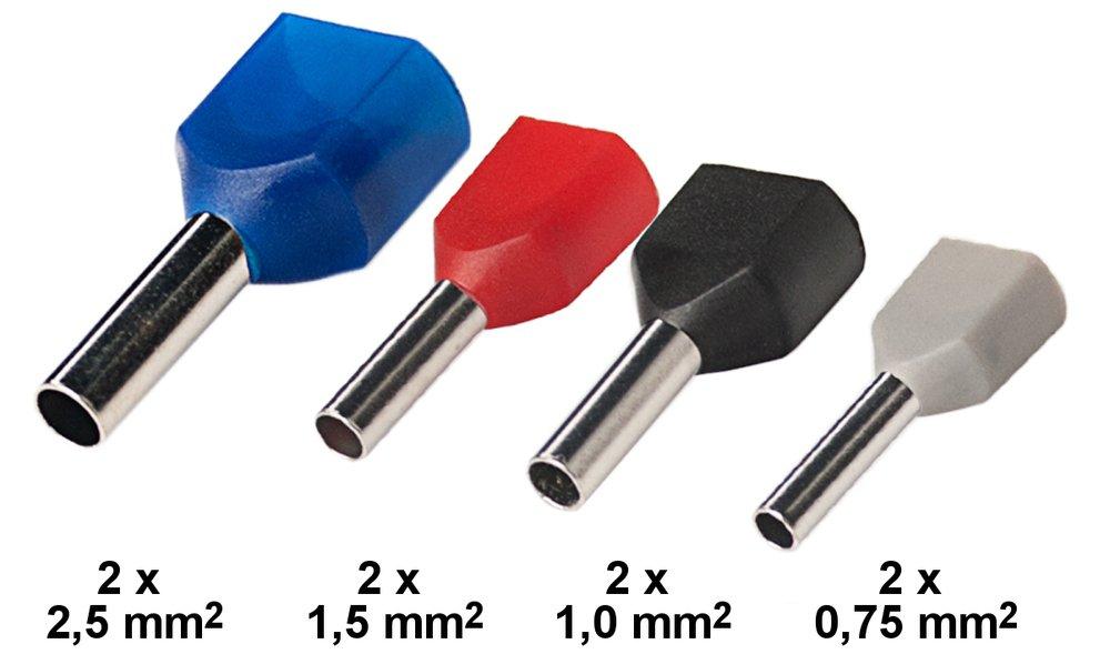 isolierte Aderendhülsen Sortimentbox 0, 5/0, 75/1, 0/1, 5/2, 5 mm² E-0, 5-2, 5 BOX edi-tronic