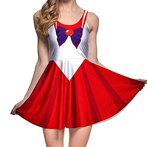 BOMBAX Girls Sailor Moon Skater Dress Stretchy Anime Cosplay Costume Mini Skirt -