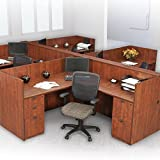 Office Workstation Cubicle Desk, L-Shaped Systems Furniture, Wooden Panels, Modular Station (2 Person Workstation w 2 File Cabinets, Mahogany)