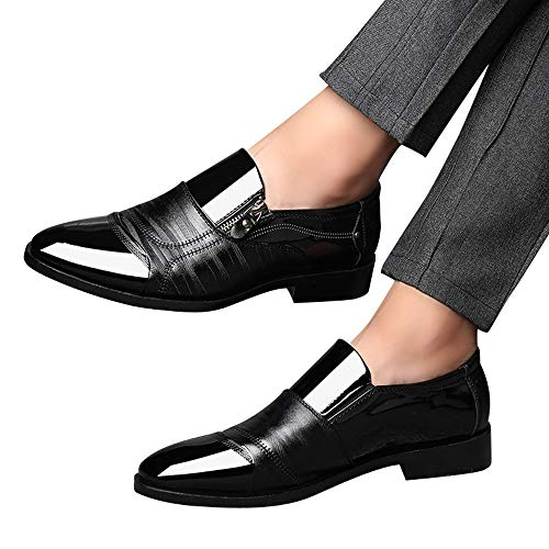 Todaies Business Dress Shoes Pointed Head Men Shoes A Pedal Casual Lazy Side Zipper Shoe