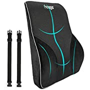 #LightningDeal Lumbar Support Pillow/Back Cushion, Memory Foam Orthopedic Backrest for Car Seat, Office/Computer Chair and Wheelchair,Breathable & Ergonomic Design for Back Pain Relief (Lumbar Support Cushion Black)