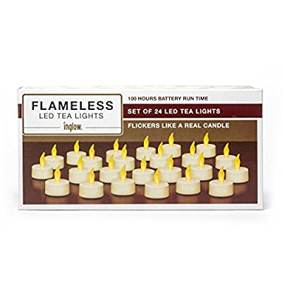 Inglow by Sterno Home Flameless Tea Light Candle, 100 Hours of Run Time, Battery Operated, 24-Pack, White: Home Improvement