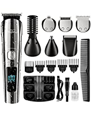 Brightup Beard Trimmer, Hair Clippers Hair Trimmer for Men, Waterproof Body Mustache Nose Ear Facial Cutting Groomer, Cordless Electric Shaver All in 1 Grooming Kit, USB Rechargeable & LED Display