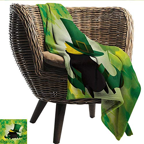 EwaskyOnline St. Patricks Day Travel Blanket Leprechaun Hat and Shoes Costume with Pot of Gold with Shamrock Leaves car/Airplane Travel Throw (Travel Size) 51
