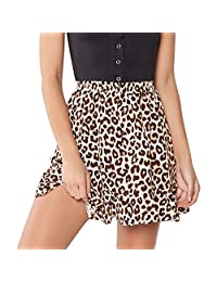 CakeLY Women's Leopard Print Pleated Short Skirt Ruffled Lace-Up A-Line Short Dress