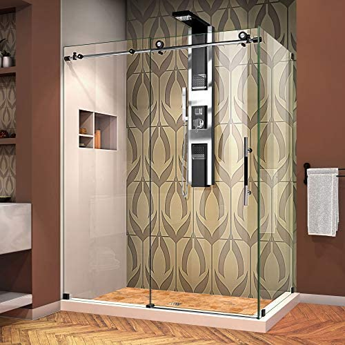 DreamLine Enigma-XT 34 1 2 in. D x 60 3 8 in. W x 76 in. H Fully Frameless Sliding Shower Enclosure in Tuxedo Finish, SHEN-6134600-18