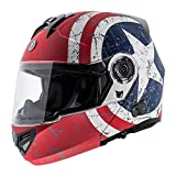 TORC T27B Full Face Modular Helmet with Blinc Bluetooth (Rebel Star, Large)
