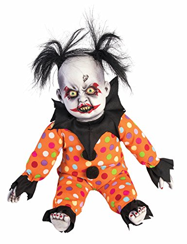 Scary Clown Clothes (Evil Creepy Clown Doll Baby with Crazy Hair Lifesize Halloween Decoration Prop)