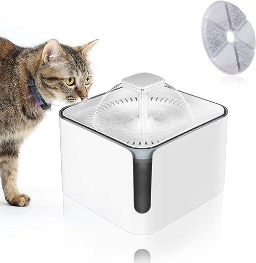 Achort Bebedero Gatos, Fuente silencioso para Gatos 3L Bebedero Automático Fuente de Agua para Mascotas Gatos Perros Cuidado La Salud y Fuente Higiénica con 3 Filtros de Carbón Activado (Blanco): Amazon.es: Productos
